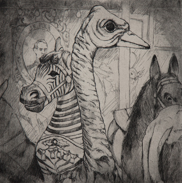 """""""You Look Like a Bird"""", etching and aquatint, 2013"""