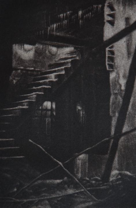 """""""Lower Level"""", mezzotint, 2013"""