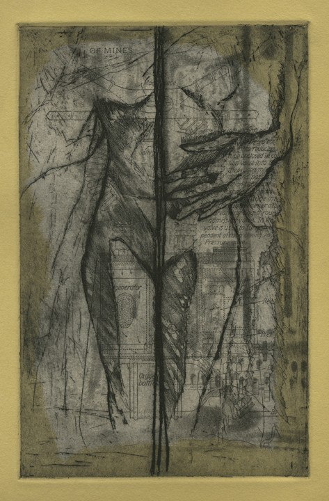 """""""The Divide,"""" etching with chine collé, 2013"""