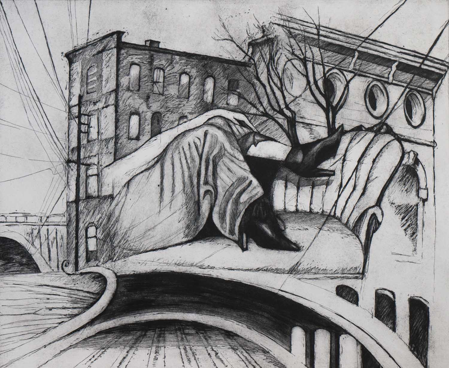 """""""The House Above the Trainyard"""", etching, 2012"""