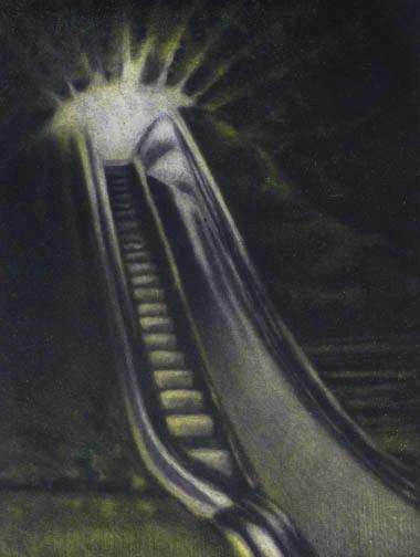 """Mine Escalator"", color mezzotint, 2010"