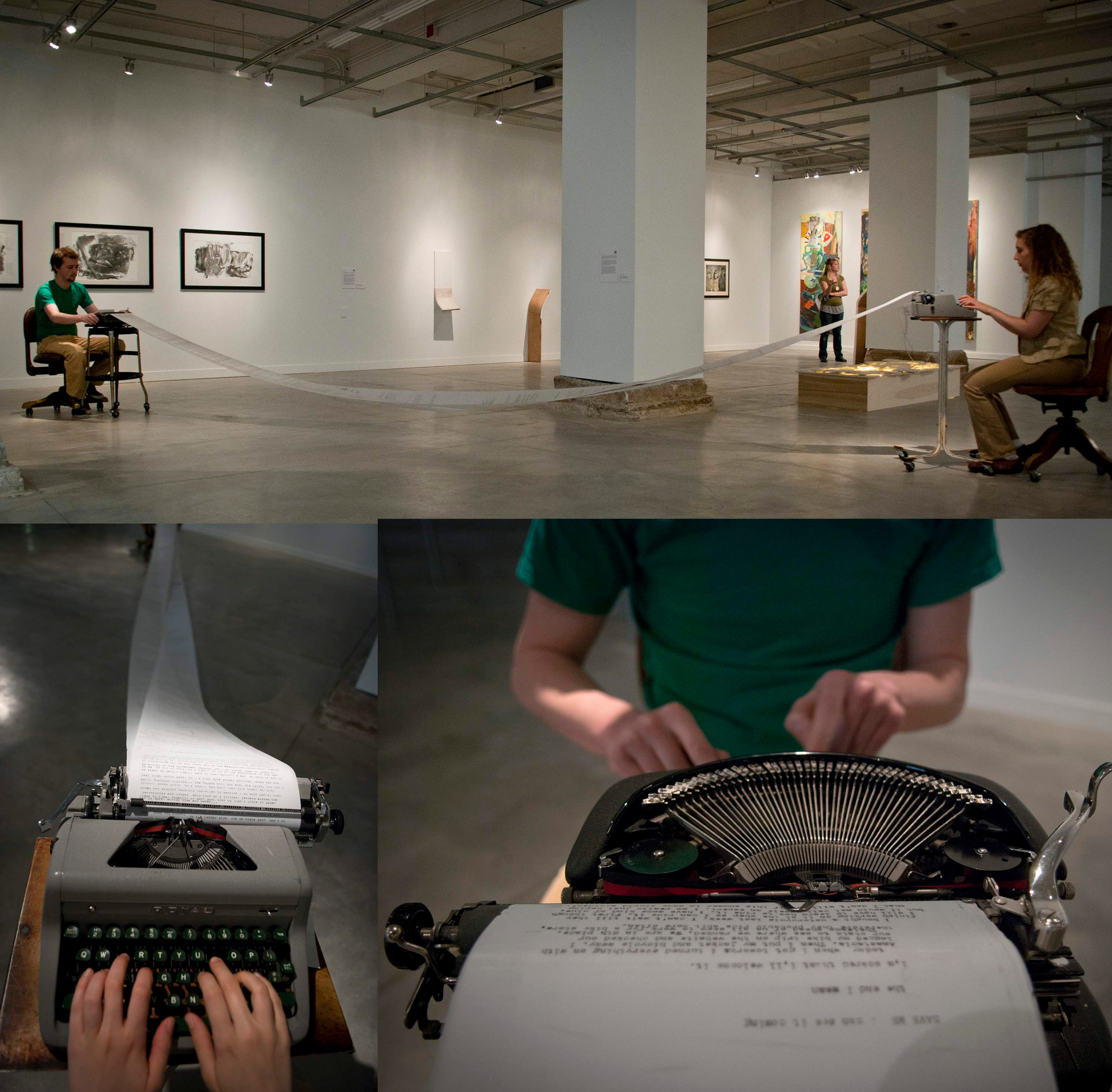 """Failed Connection: Typing Scroll"", installation and performance, 2011"