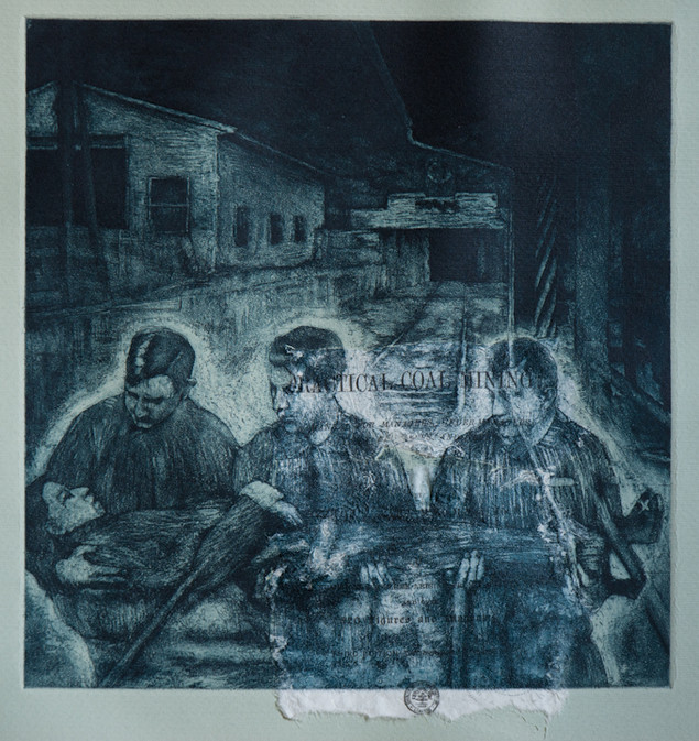 """Practical Coal Mining"", etching, aquatint and chine collé, 2010"