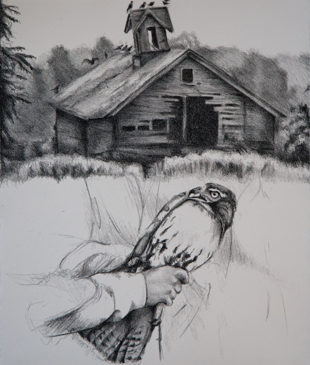 """""""A Bird in the Hand is Worth Two in the Barn"""", stone lithograph, 2013"""