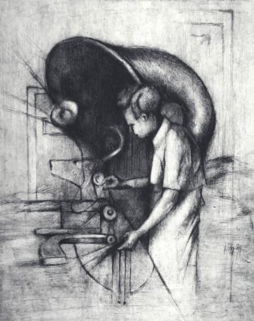 """Deer Machine"", etching and aquatint, 2008"