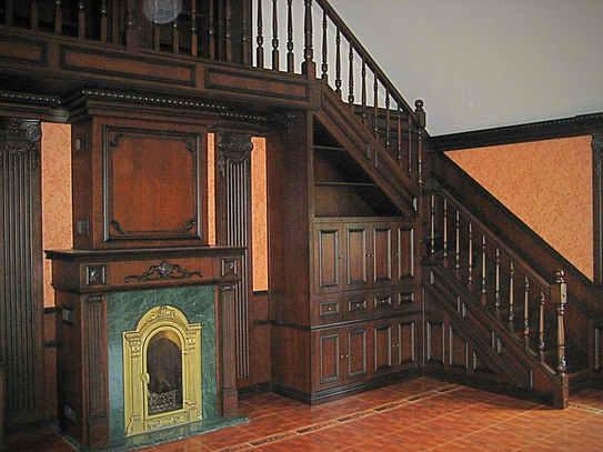 Лестница и каминная зона