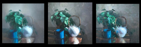 White Teapot and Blue Cup
