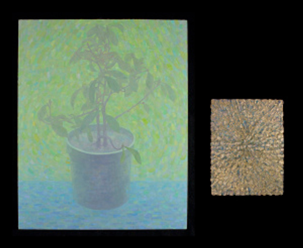"""Photinia with Green Background"", oil on linen, 30""x24"", and ""Sunlight"", oil and spray paint on panel, 16""x12"""