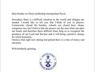 Письмо ободрения от Патриарха Августина.
