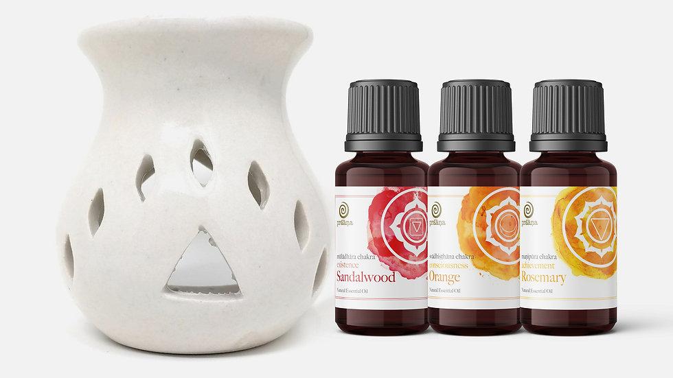 LIFE: Sandalwood, Orange & Rosemary Essential Oils with Diffuser