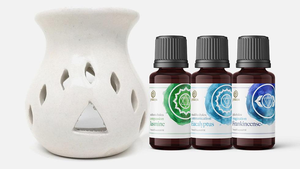 LOVE: Jasmine, Eucalyptus & Frankincense Essential Oils with Diffuser