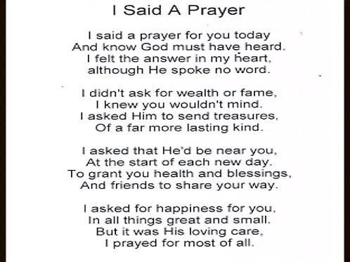 I said a Prayer