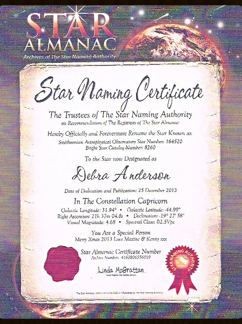 Star Naming Certificate