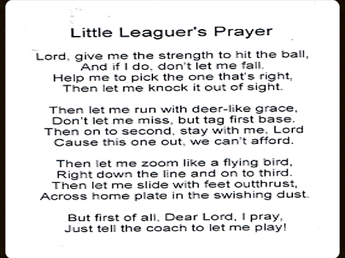 Little Leagues Prayer