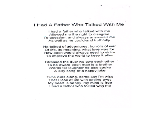 I had a father who talked with me