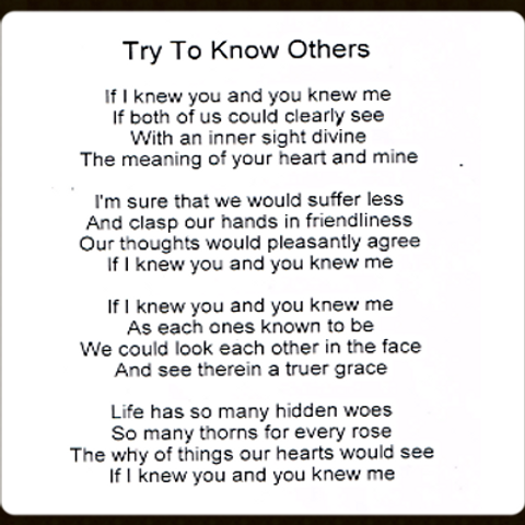 Try to know others