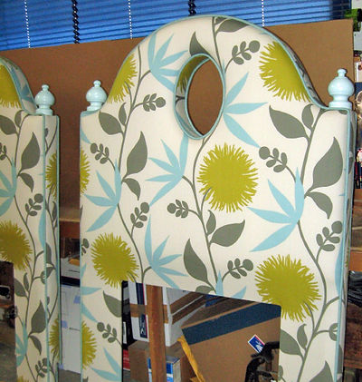 Custom Shaped Upholstered Headboard with Finials