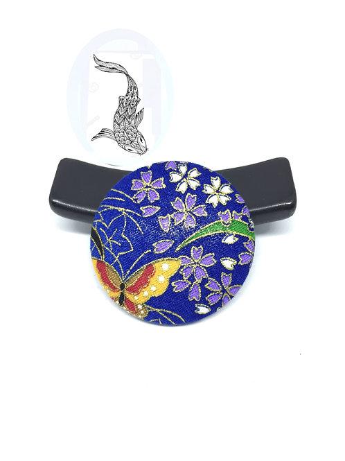 Broche tissu japonais bleu papillon