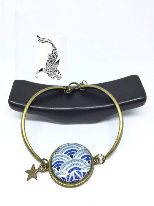 Bracelet bronze cabochon tissu japonais