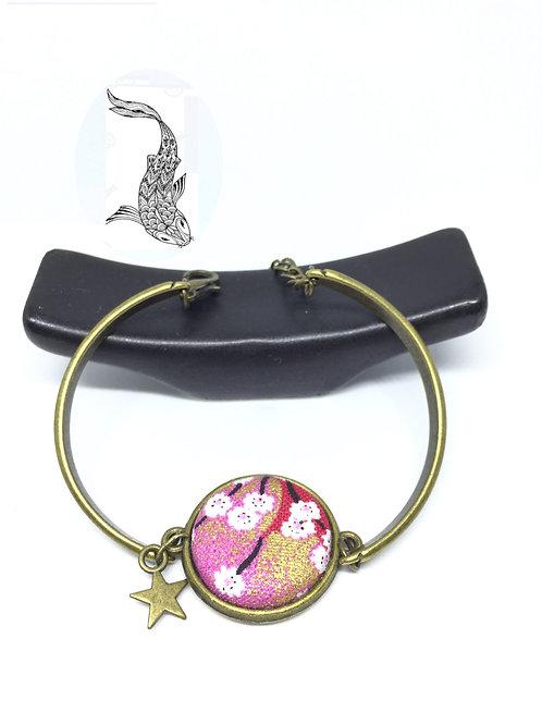 Bracelet bronze tissu japonais