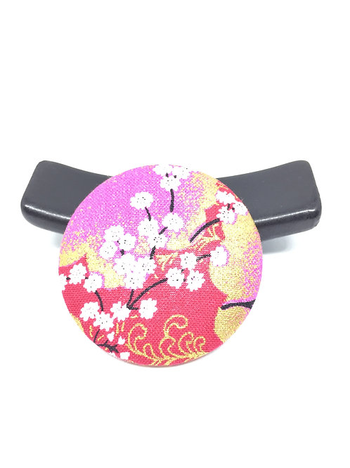Broche tissu japonais rouge