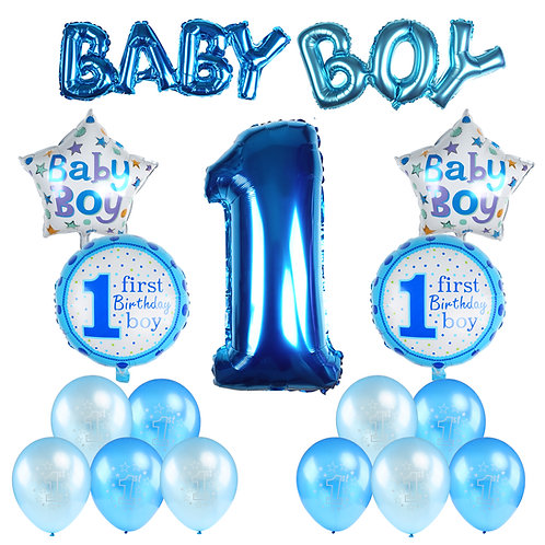 Kesote Baby Boy 1ST Birthday Party Decoration Set Inflatable Helium Foil Balloon