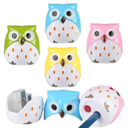 Kesote 6PSC Animal Owl Cartoon Pattern Two-Holes Pencil Sharpeners, Creative St