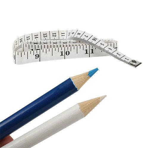 Kesote Set of 4 Tailor's Chalk Pen Marking Fabric + 1 Tape Measure 150 cm, Chalk