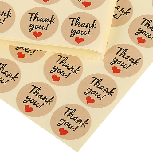 Kesote Kraft Paper Thank You Sticker Round Labels Sticker, 50 Sheets, Pack of 10