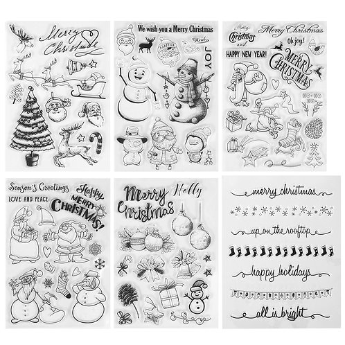Kesote Transparent Silicone Stamps, Stamps Shaped Santa Claus, Tree, Reindeer,