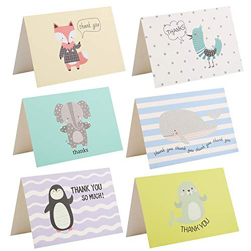 Kesote Thank You Cards, Set of 24 Animal Pattern Folding Note Blank Inside with