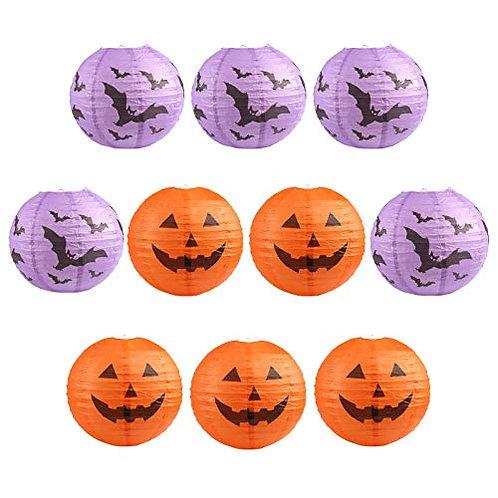 Kesote Halloween Paper Lantern Set, 10 PCS Lanterns with Pumpkin Design, Paper L