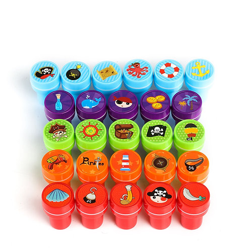 Kesote 26 Pieces Pirate Stamp for kids Assorted Color Set Self Inking Stamps To