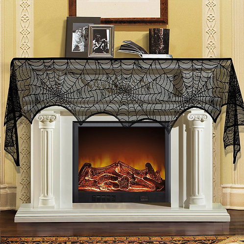 Kesote Halloween Cobweb Fireplace Scarf, Halloween Black Lace Spider Web Decorat