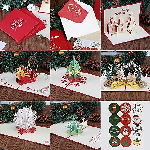 Kesote 6 Pieces Christmas 3D Pop Up Greeting Cards with Envelope, 3D Patterns wi