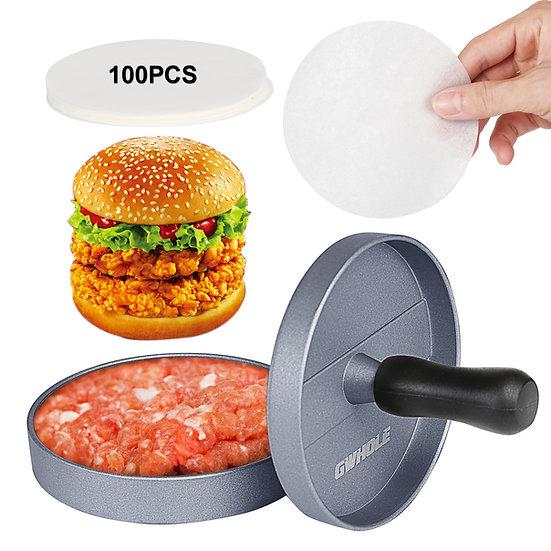 GWHOLE Non-Stick Burger Press Aluminum Hamburger Patty Maker with 100 Wax Papers