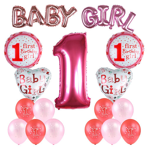 Kesote Baby Girl 1ST Birthday Party Decoration Set Inflatable Helium Foil Balloo