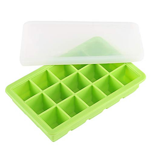 Kesote Silicone Ice Cube Tray, Ice Cube Mould with Non-Slip Lid for Water, Cockt