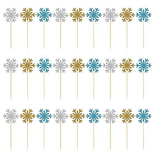 Kesote 30PCS Snowflake Cake Topper Snowflake Design Paper Topper Decorative Top