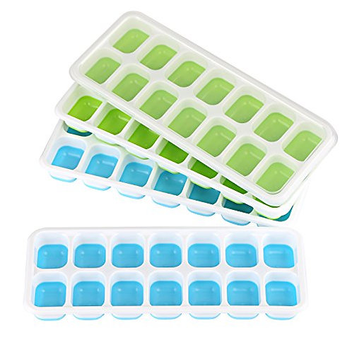 Kesote Pack of 4 Ice Cube Tray with Lid, Easy Making and Release Flexible Ice B