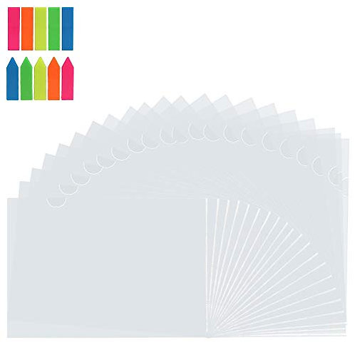 Kesote 20 Pack Clear Document Folder, Transparent File Protection with Colorful