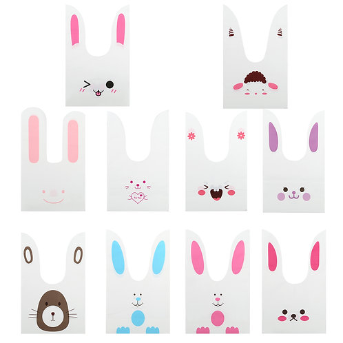 Kesote Candy Bags, 100 Pieces Cute Bunny Rabbit Ear Bags for Wrapping Gift, Dess