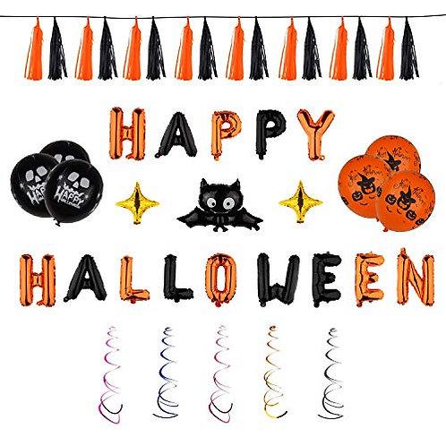 Kesote 45 Stück Halloween Ballons Set, Helium Folie Ballons Luftballons Spirale