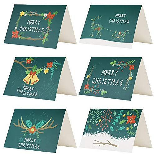 Kesote Pack of 24 Greetings Cards Merry Xmas Cards Green Xmas Cards of 6 Patter