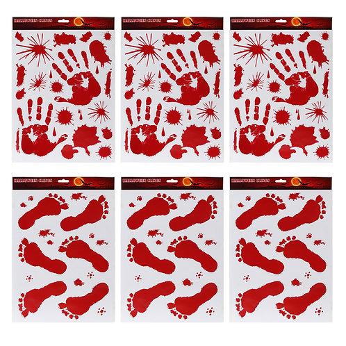 Kesote 6 Sheets Bloody Handprint Footprint Halloween Window Clings Decals, Bloo