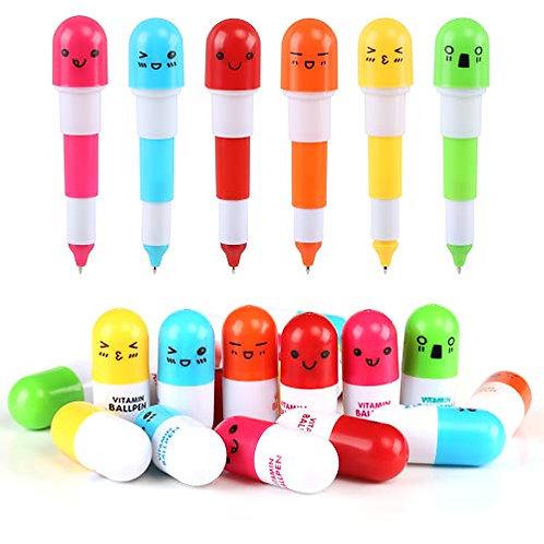 Kesote 20 PCS Smiling Face Vitamin Pill Shaped Ballpoint Pen Cute Cartoon Retra