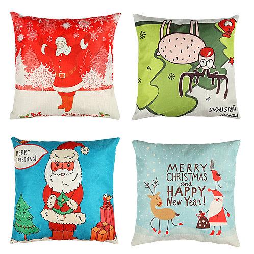 Kesote Happy Christmas Pillow Cover Christmas Pillowcase with Drawings of Santa