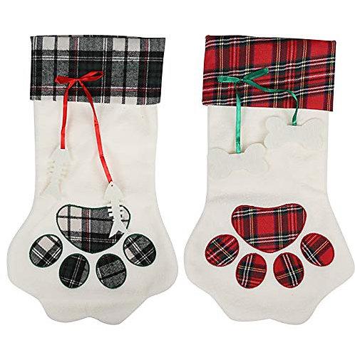 Kesote Xmas Stocking Large Pet Stockings Xmas Shaped Dog Paw for Home Decoratio