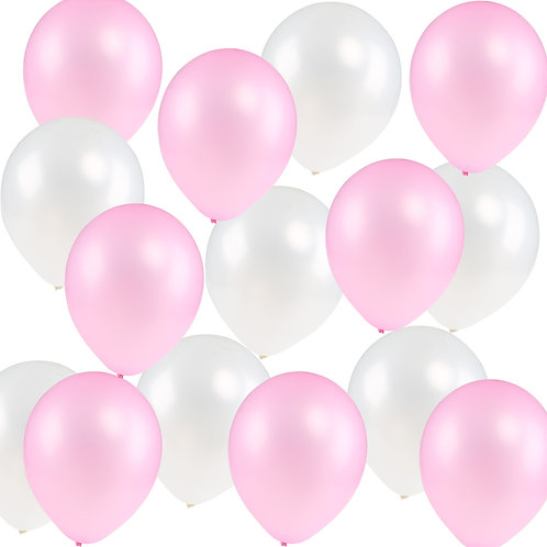 Kesote 12 Inch Assorted Birthday Party Balloons 100pcs (Pink&White)