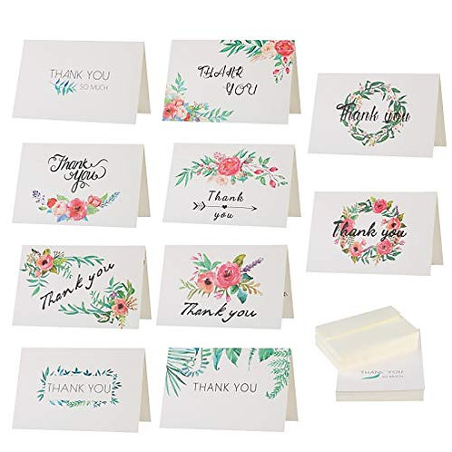 Kesote Thank You Cards 12 Design Folding Style with Flower Pattern (Pack of 48